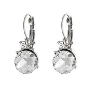 """Silver tone lever back earrings with a rhinestone focal. Approximately 3/4"""" in length."""
