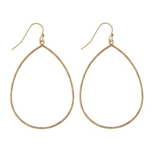 """Dainty fishhook earrings with an open teardrop shape and a hammered texture. Approximately 2.25"""" in length."""