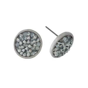 """Metal circle shaped, stud earrings with crushed black and gray rhinestones. Approximately 1/2"""" in diameter."""