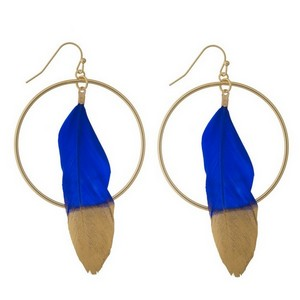 "Gold tone fishhook earrings with an open circle shape and a feather statement. Approximately 3"" in length."