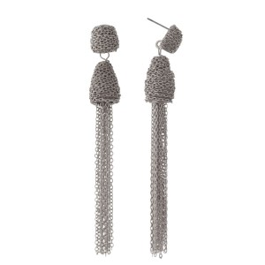 "Silver tone fishhook earrings with a chain tassel. Approximately 3.5"" in length."