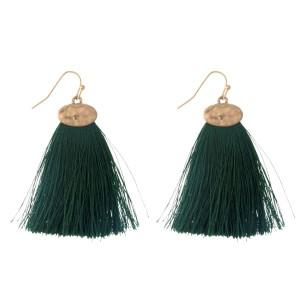 """Gold tone fishhook earrings with a hunter green threaded, fan tassel. Approximately 2"""" in length."""
