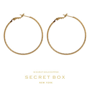 """Secret Box 14 karat gold over brass twisted hoop earrings with a lever back. Approximately 1.5"""" in diameter."""