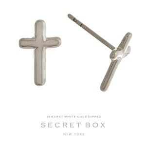 """Secret Box 24 karat white gold over brass cross stud earrings. Approximately 1/2"""" in length."""