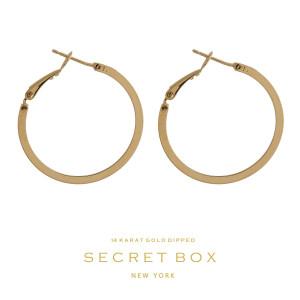 """Secret Box 14 karat gold over brass hoop earrings. Approximately 1"""" in diameter."""