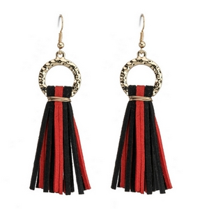 "Gold tone fishhook earrings with two tone, faux suede tassels, perfect for your gameday look. Approximately 3"" in length."