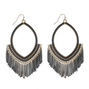 """Burnished gold tone fishhook earrings with an open oval shape and black chain fringe. Approximately 4"""" in length."""