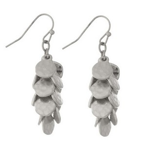 """Fishhook earrings with hammered circle charms. Approximately 1.5"""" in length."""