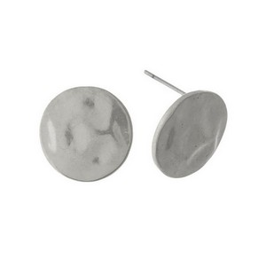 "Hammered metal, circle stud earrings. Approximately 1/2"" in diameter."