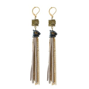 "Gold tone fishhook earrings with a natural stone, and a chain and faux suede tassel. Approximately 4.5"" in length."