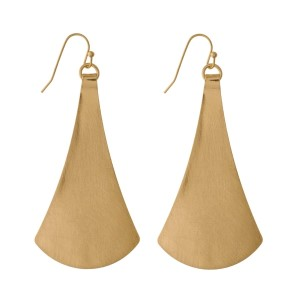 "Metal fishhook earrings with a triangle shape and a brushed texture. Approximately 3"" in length."