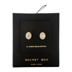 """Secret Box 14 karat gold dipped over brass oval rhinestone stud earrings. Approximately 1/3"""" in length. Sold in a gift box."""