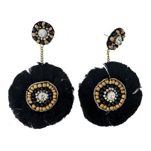 "Statement, stud earrings with clear rhinestones, gold tone beads and thread accents. Approximately 3"" in length."