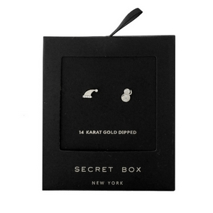 """Secret Box 24 karat white gold over brass snowman and Santa hat, Christmas stud earrings. Approximately 1/4"""" in size."""