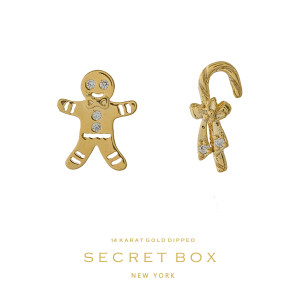 "Secret Box 14 karat gold over brass candy cane and gingerbread, Christmas stud earrings. Approximately 1/4"" in size."