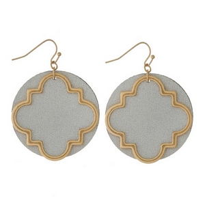 """Gold tone fishhook earrings with an open quatrefoil shape and a faux leather backing. Approximately 2.25"""" in length."""