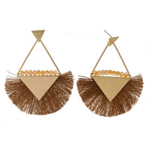 """Gold tone stud earrings with triangle shapes, a fanned thread tassel, and beaded accents. Approximately 3"""" in length."""