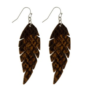 """Faux leather, fishhook earrings with a feather shape and a snakeskin pattern. Approximately 2.25"""" in length."""