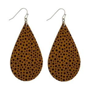 "Silver tone, fishhook earrings with a faux leather teardrop shape. Approximately 2.5"" in length."