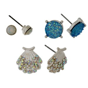 Silver tone, three pair stud earring set with a beach theme.