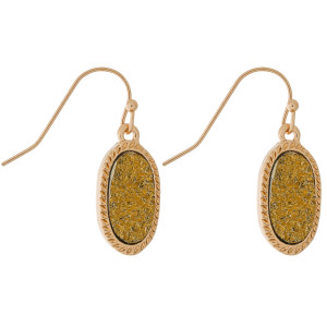"""Dainty, gold tone fishhook earrings with an oval shaped, faux druzy stone. Approximately 1"""" in length."""
