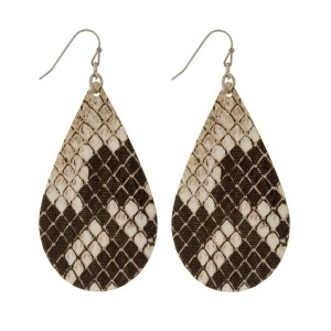 "Silver tone fishhook earrings with a faux leather teardrop and a snakeskin pattern. Approximately 3"" in length."