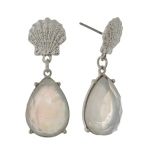 "Seashell stud earrings with a mother of pearl teardrop rhinestone. Approximately 1"" in length."