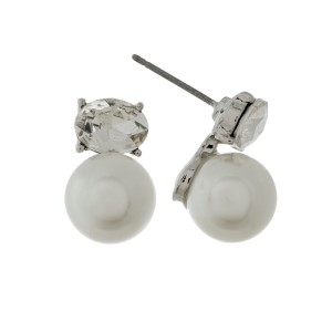 """Pearl and rhinestone stud earrings with a silver backing. Approximately 1/2"""" in length."""