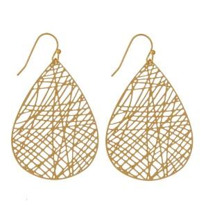 """Dainty, fishhook earrings with a laser-cut teardrop shape. Approximately 1.75"""" in length."""