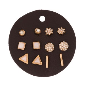 Six pair, gold tone stud earring set with shimmering rhinestones.