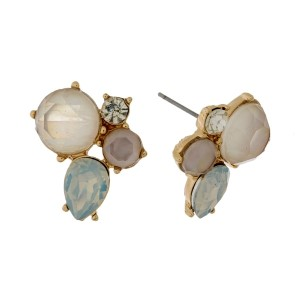 """Rhinestone cluster stud earrings with a gold tone backing. Approximately 3/4"""" in size."""