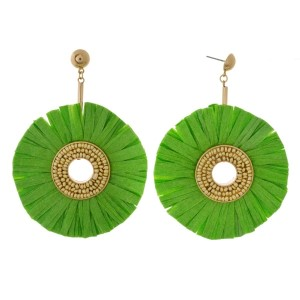 """Gold tone post style earrings with a large raffia circle shape. Approximately 2.5"""" in diameter."""