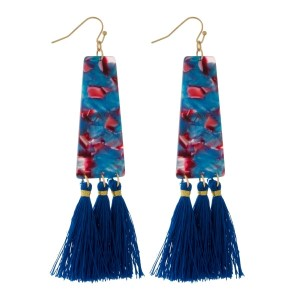 """Gold tone fishhook earrings with an acetate rectangle shape and thread tassels. Approximately 3.75"""" in length."""