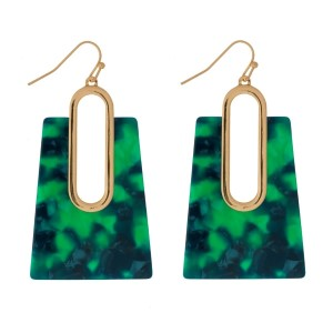 "Gold tone, fishhook earrings with an acetate square shape. Approximately 2"" in length."