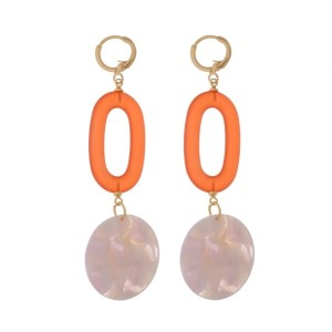"Gold tone, leaver back earrings with oval and circle acetate shapes. Approximately 2.5"" in length."