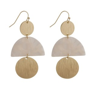 """Gold tone fishhook earrings with acetate and hammered circle shapes. Approximately 2.5"""" in length."""