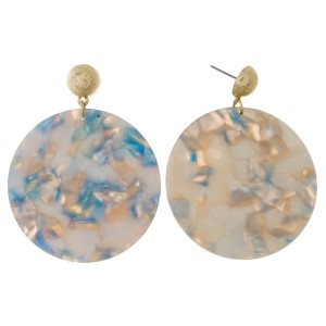 """Gold tone post earrings with an acetate circle. Approximately 2.25"""" in length."""
