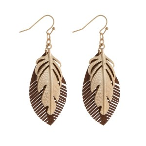 """Gold tone fishhook earrings with a feather focal and a faux leather accent. Approximately 2.25"""" in length."""