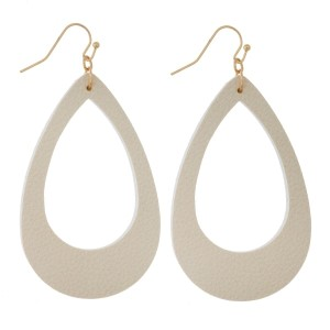 """Faux leather earrings with a cutout teardrop shape and a pebbled look. Approximately 2.5"""" in length."""