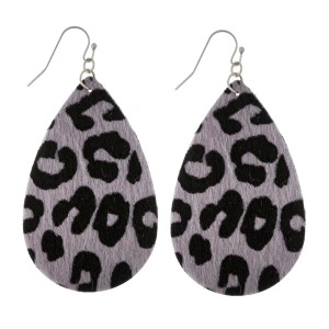"""Faux leather earrings with a teardrop shape and a faux fur animal print. Approximately 2.5"""" in length."""