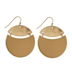 """Fishhook earrings with a circle shape and faux leather accents. Approximately 2"""" in length."""