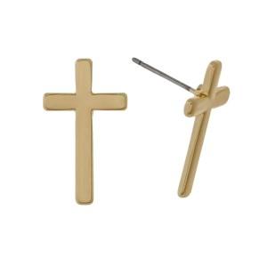 """Cross stud earrings. Approximately 3/4"""" in length."""
