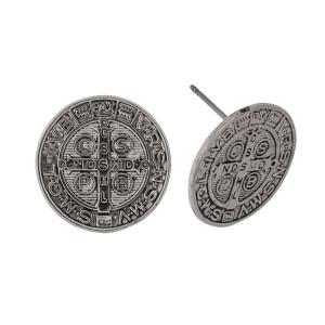 "Coin stud earrings. Approximately 1/2"" in diameter."