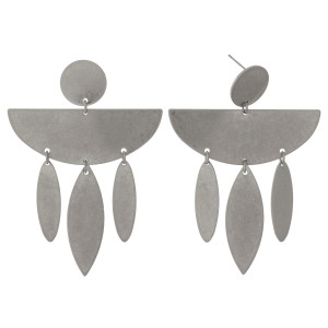 "Burnished metal, stud earrings with a half circle shape and metal fringe. Approximately 3"" in length."
