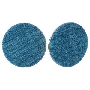 "Circle shaped, linen stud earrings. Approximately 1.25"" in diameter."