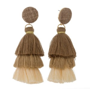 "Circle shaped, linen fabric stud earrings with an ombre tassel. Approximately 4"" in length."