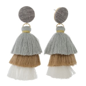 """Circle shaped, linen fabric stud earrings with an ombre tassel. Approximately 4"""" in length."""