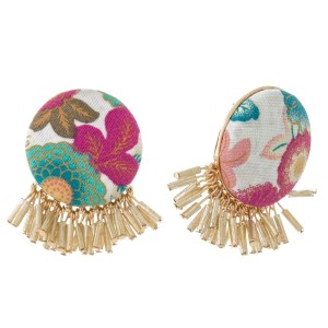 """Circle shaped, floral fabric stud earrings with beaded fringe. Approximately 1"""" in diameter. Each earring is made with the same fabric but pattern or placement may vary."""