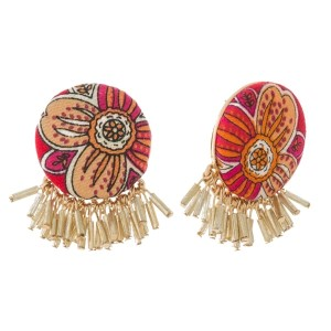 "Circle shaped, floral fabric stud earrings with beaded fringe. Approximately 1"" in diameter. Each earring is made with the same fabric but pattern or placement may vary."
