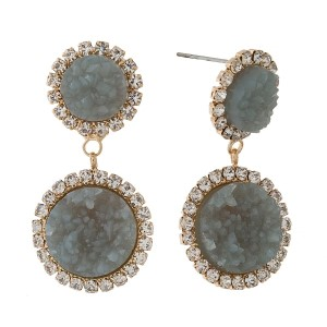 "Post style earrings with two faux druzy stones and clear rhinestone accents. Approximately 1.5"" in length."